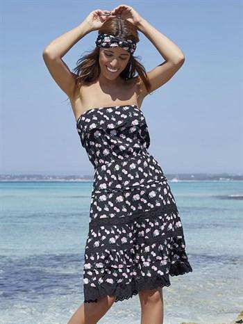 Пляжное  платье  с кружевом и воланом Ysabel Mora - фото 7265