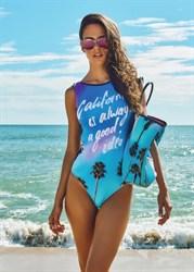 Сплошной синий купальник с утяжкой на животе Maryssil 2000