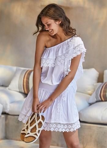 Белое платье на одно плечо Ysabel Mora 2020 - фото 10819