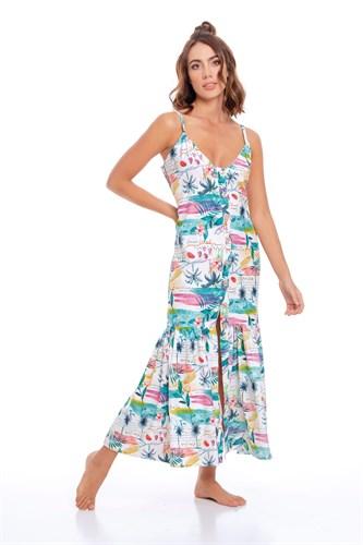 Длинное летнее платье на пуговицах Milonga AQUC04-1