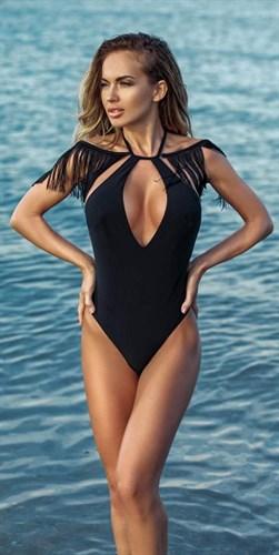 Cлитный купальник 2018 с высоким вырезом по бедру и сьемной рюшей на плечах Jolidon F2543 - фото 5895