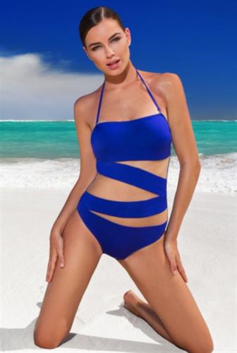 Слитный купальник бандо с сеткой SHE Tiffany   banador.ru