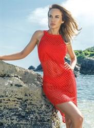 Красное платье в сеточку Jolidon