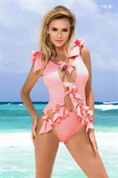 Розовый слитный купальник с бантом | banador.ru